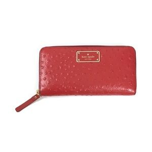 Kate Spade Red Leather La Vita Zipper Wallet